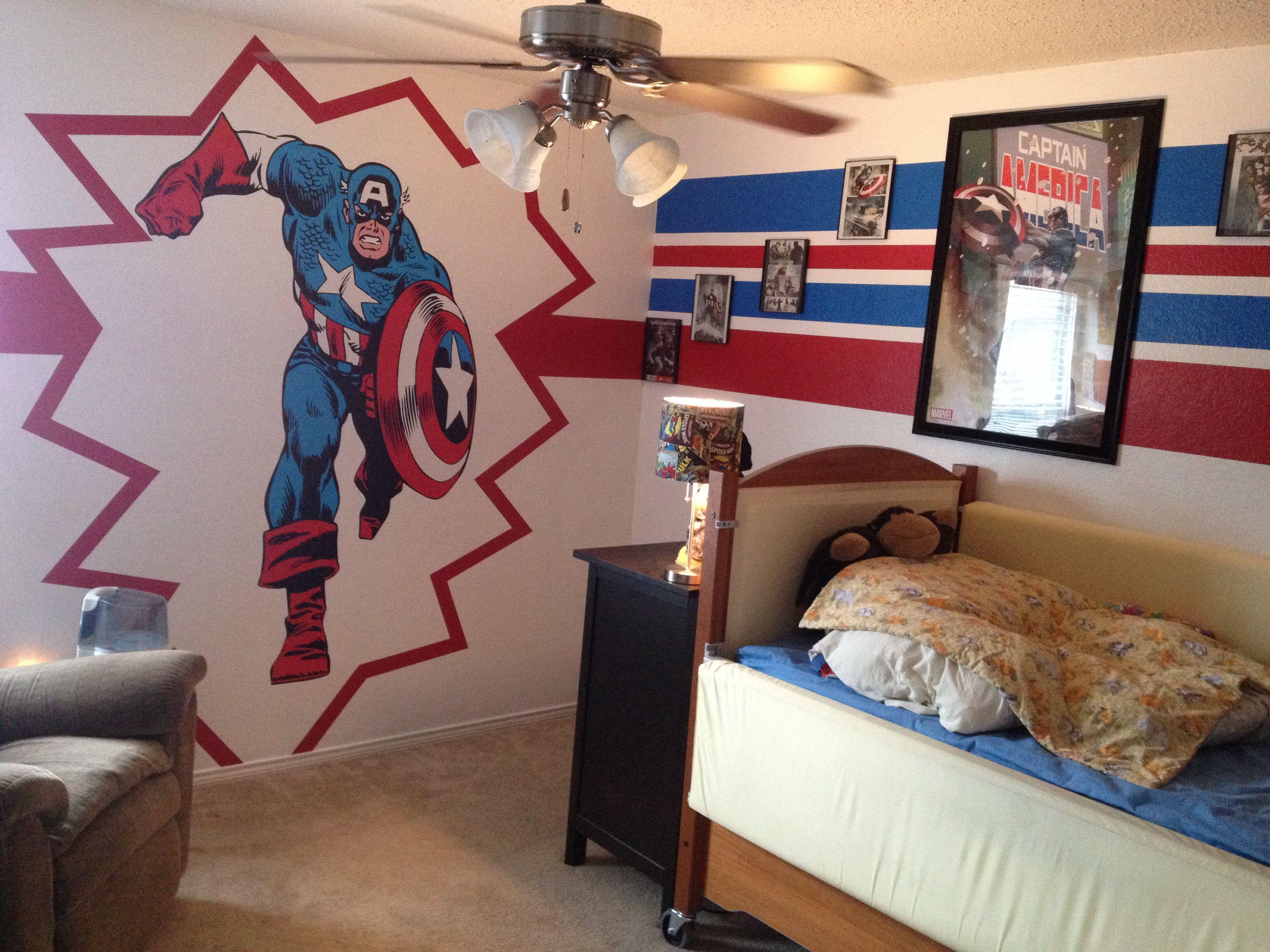 Captain America Room Super Hero Room Fathead Com Plus Framed