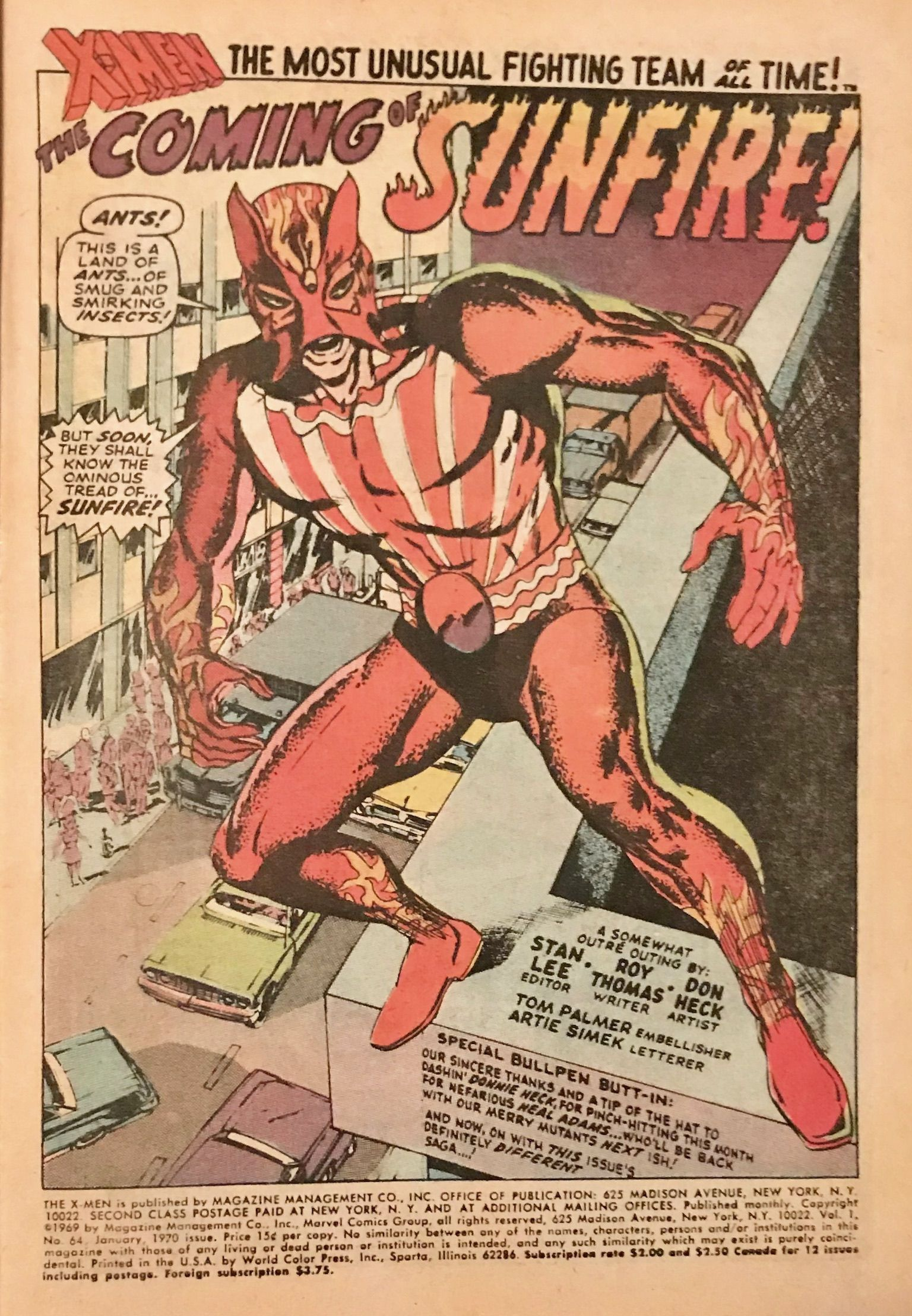 1st Appearance Of Sunfire The X Men 64 By Don Heck And Tom Palmer 1970 X Men Superhero Comic Tom Palmer