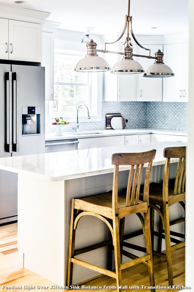 Pendant Light Over Kitchen Sink Distance From Wall With Transitional Kitchen,  Kitchen Lighting From Pendant