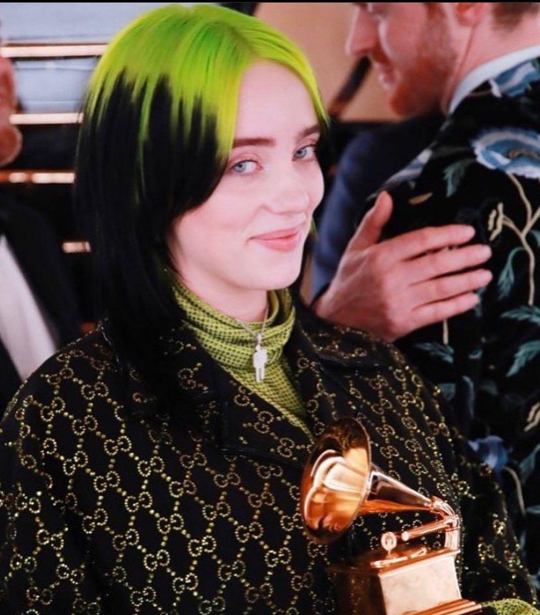"""billie eilish updates on Instagram: """"Billie won 5 awards at the GRAMMYs 🏆🍾"""""""