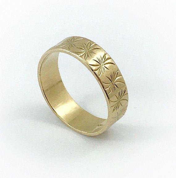 Mens Vsolid 10k Gold Wedding Ring Vintage Gold Band Engraved Gold Ring Wide Estate Stars Gold Wedding Rings Vintage Wedding Rings Vintage Mens Gold Rings
