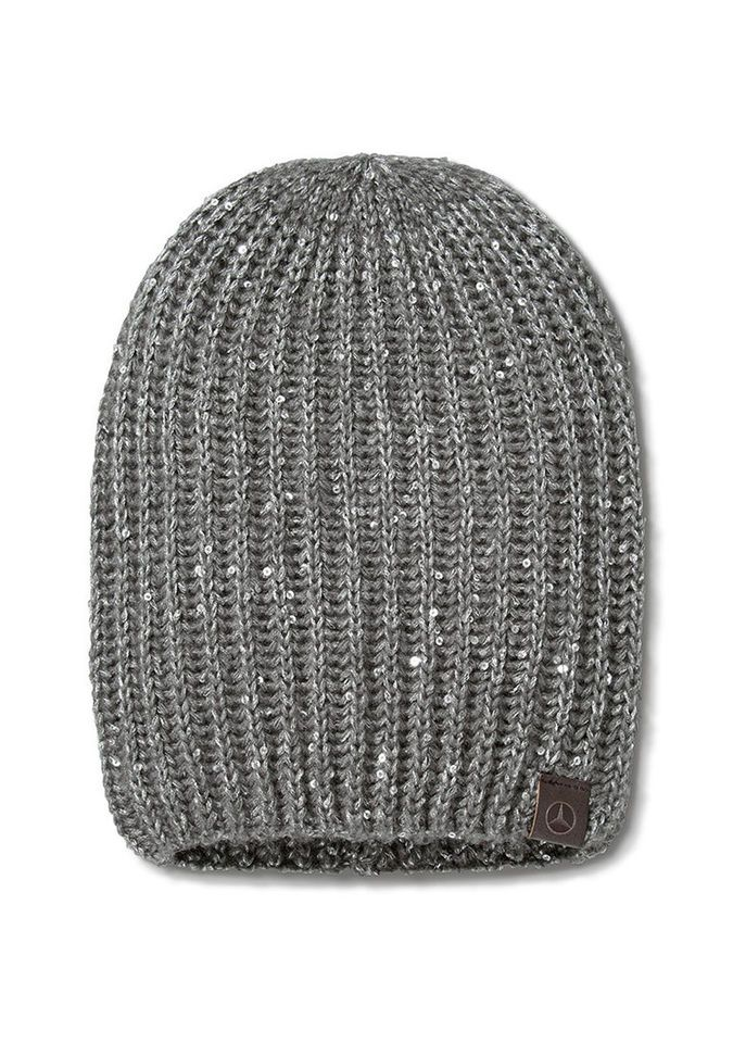 Mercedes Benz Ladie's Soft Knitted Hat with Silver-Colored Sequins