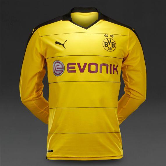 Puma BVB Dortmund 15 16 LS Home Replica Shirt - Cyber Yellow Black ... 91028bf13