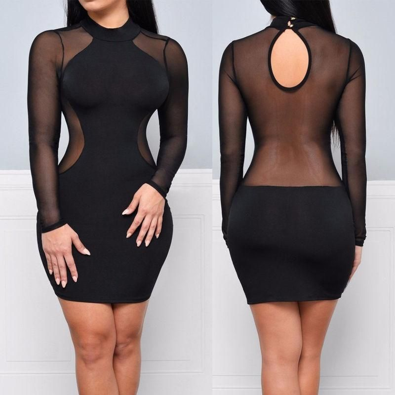 170d5a9068d USA Women Bandage Bodycon Summer Evening Cocktail Party Long Sleeve Mini  Dress