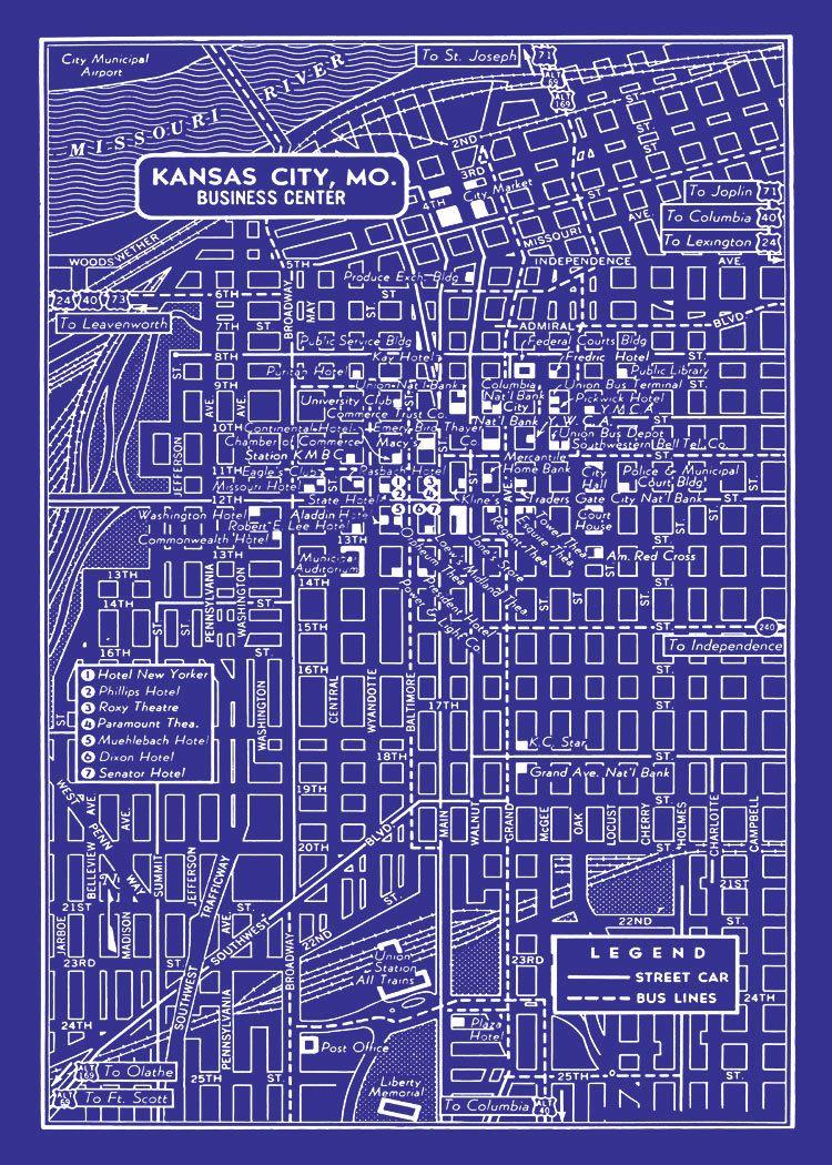 1949 vintage map of downtown kansas city blueprint map print poster 1949 vintage map of downtown kansas city blueprint map print poster malvernweather Choice Image