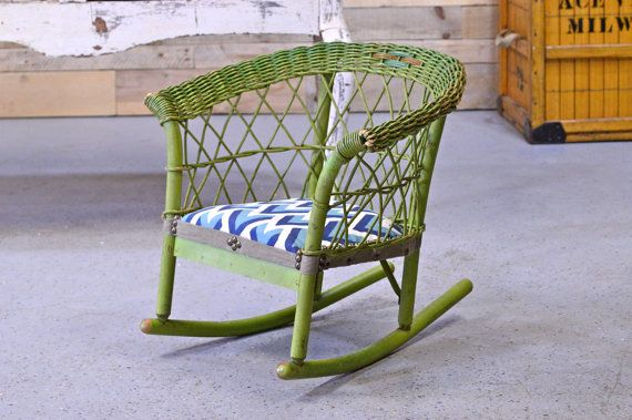 Vintage Childs Rocking Chair Green Wicker Rocking By Scoutandforge