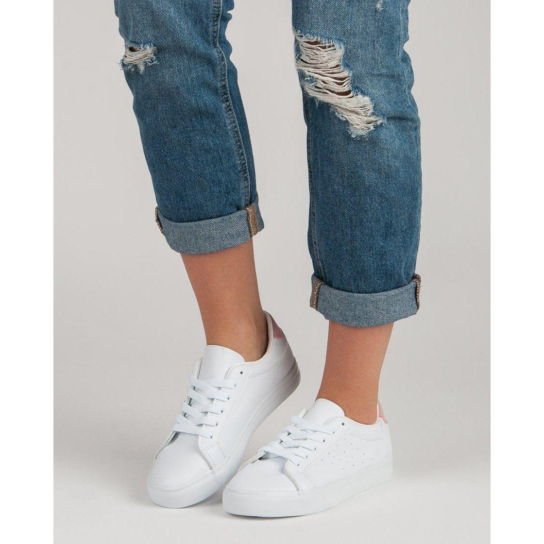 Biale Buty Sportowe Rozowe Adidas Stan Smith Adidas Stan Fashion