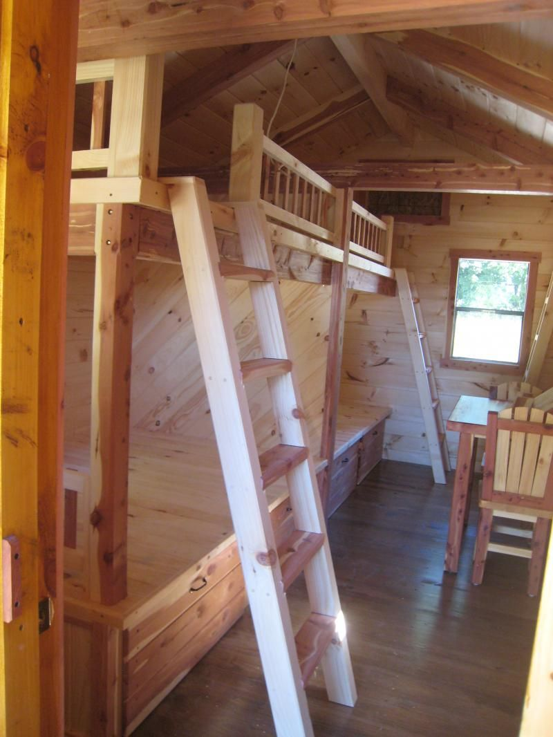Trophy Amish Cabins Llc 10 X 20 Bunkhouse Cabinshown In The Hunter Model Small Cabin Kitchens Shed To Tiny House Bunk House