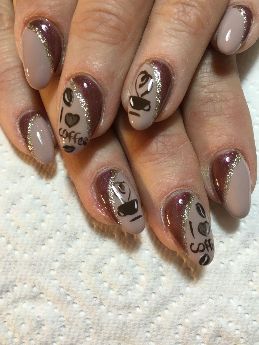 Nail designe ) like as a coffe designe Fantasy nails