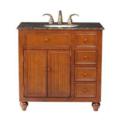 Bathroom Vanity Sink - 36-inch Single Bowl with Brown Granite Top