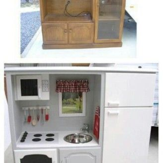 Small White Kitchen Tv Girls Play Kitchen Repurposed Furniture
