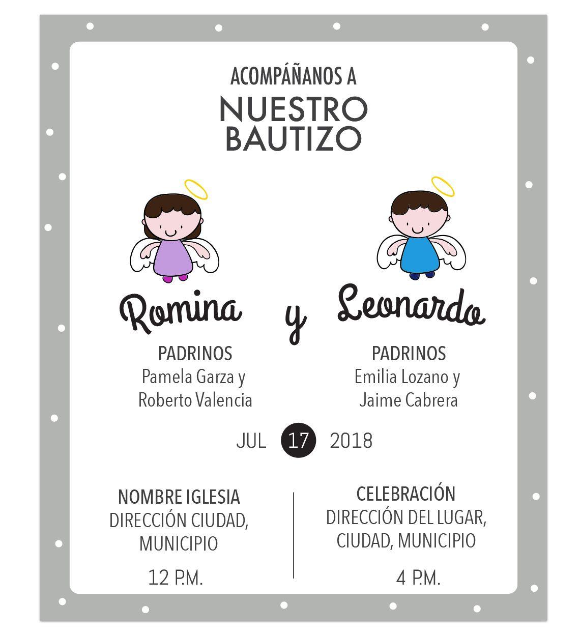 Invitación Bautizo Hermanos Invitaciones Bautizo Tarjetas