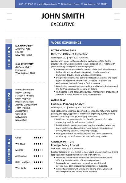 Find The Dark Blue Executive Resume Template On Http Www Cvfolio
