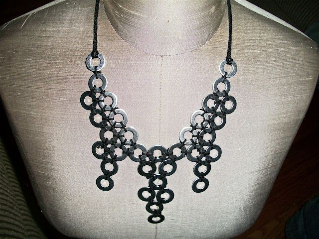 Dollar Store Crafts » Blog Archive » Tutorial: Washer Statement Necklace  I'd almost forgotten this works for a chain mail on the cheap trick. You can sew pierced metal coins, etc, to a garment, or knot them together. Embroidery floss is a reasonably strong way to do it.