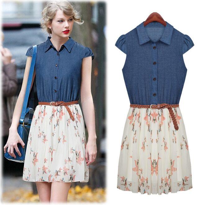 1bbf77969068 Fashion Floral Chiffon Splicing Denim Polo Collar Short Sleeve Dress ...