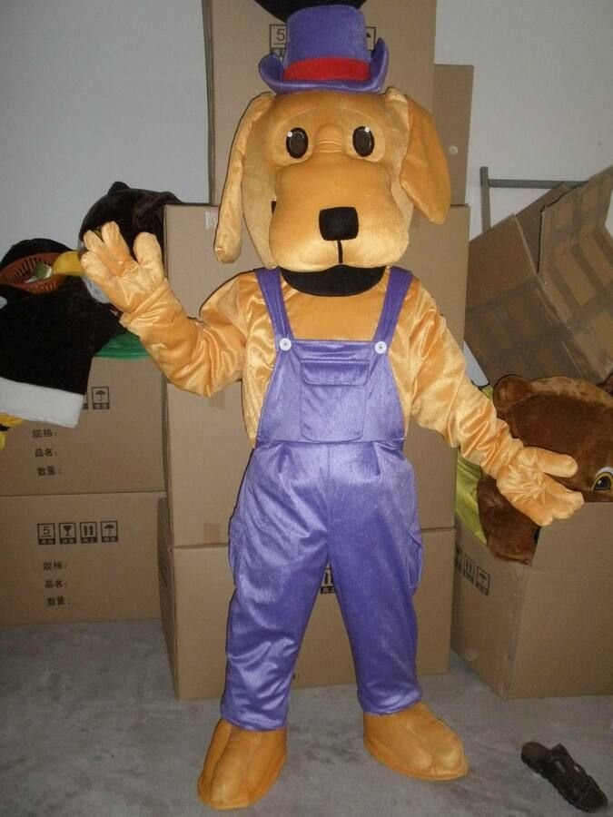 Gold Dog Mascot Costume Cosplay Animal Fancy Dress Adults Party