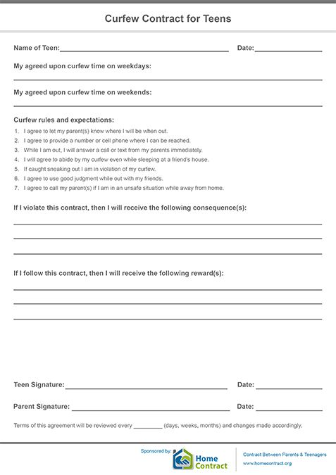 Curfew Contract For Teens  Behavior Contract Kids