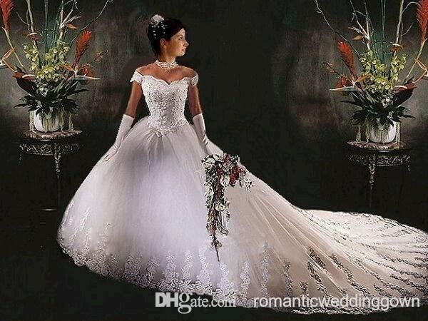 New Fashionable Design White Silk Off Shoulder Wedding Dresses Ball Gown with Lace Send Glove And Veil for Free Online with $118.33/Piece on Romanticweddinggown's Store | DHgate.com