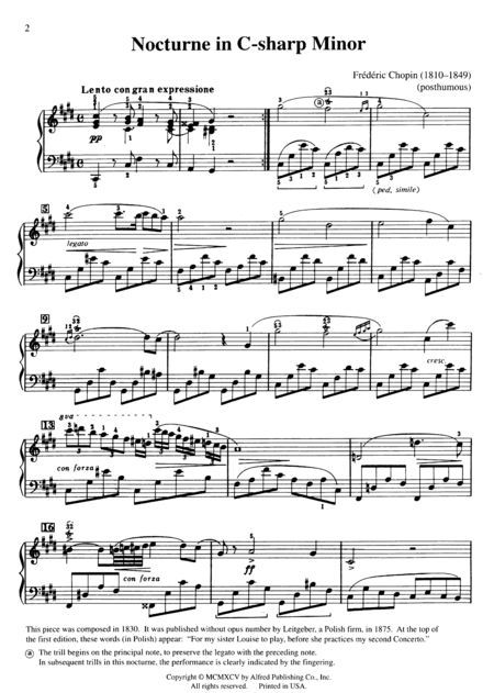 Nocturne In C Sharp Minor Sheet Music Google Search Piano