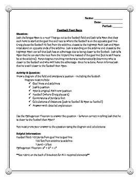 Pythagorean Theorem Performance Task 8th Grade Math 8th Grade Math Performance Tasks Pythagorean Theorem