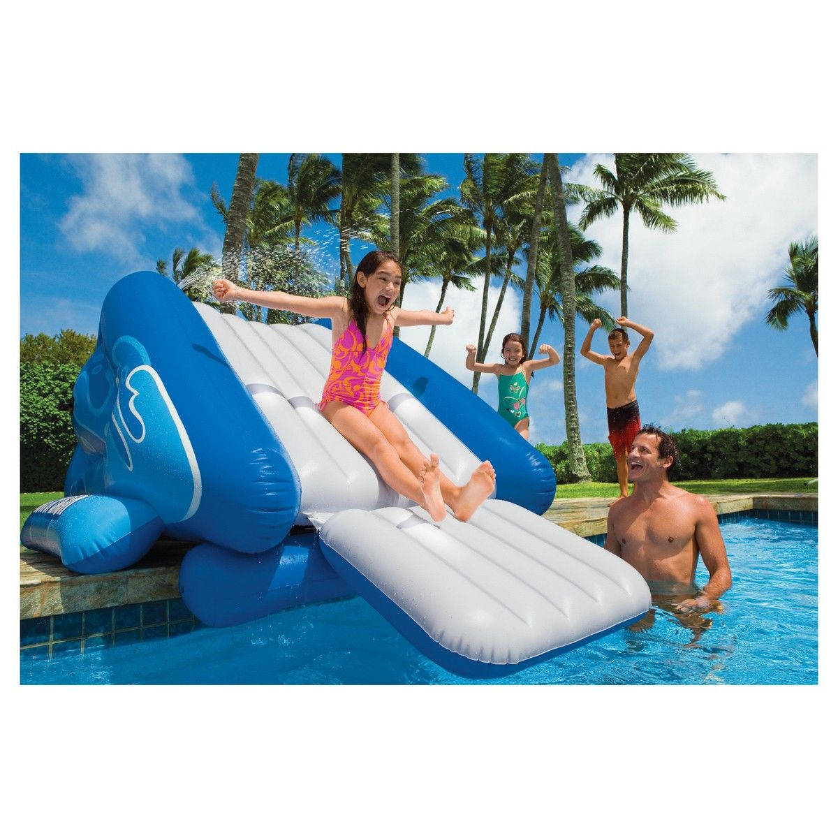 The Intex Giant Inflatable Water Slide Brings Crazy Water