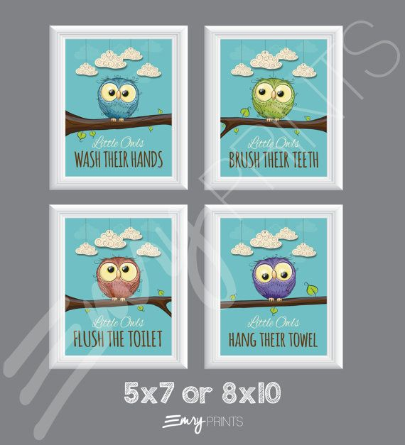 Owl Bathroom, Birds Bathroom Theme, Children's Bathroom Art 8X10, Kid's Bathroom Decor, Owl Nursery Decor, Birds Bathroom Owl Bathroom, Birds Bathroom theme, Children's Bathroom Art 8x10, Kid's Bathroom Decor, Owl Nursery Decor, Birds Bathroom Bathroom Decoration owl bathroom decor