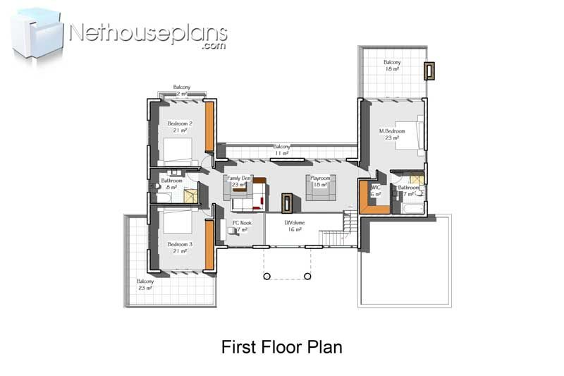 4 Bedroom Double Storey House Plan South African Nethouseplansnethouseplans House Plans Two Story House Design House Plans For Sale