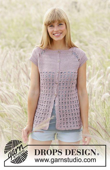Women jacket crochet, crochet top, cotton and viscose short sleeve ...