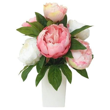 Artificial Peony In Glass Cylinder Threshold Target Artificial Peonies Artificial Plant Wall Artificial Plant Arrangements