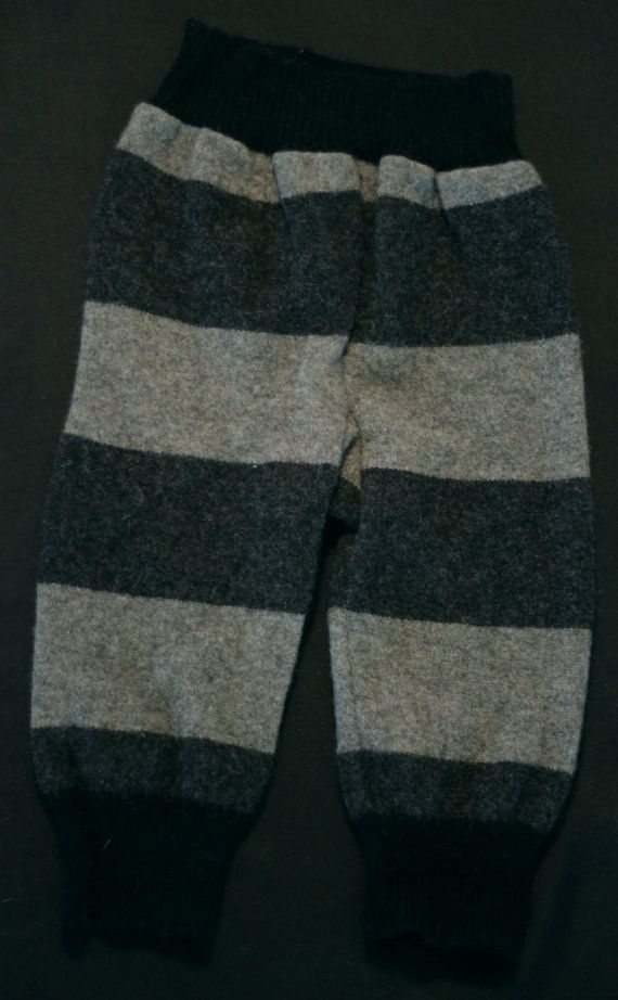 Upcycled wool longies grey and black stripe by AllKatydUp on Etsy