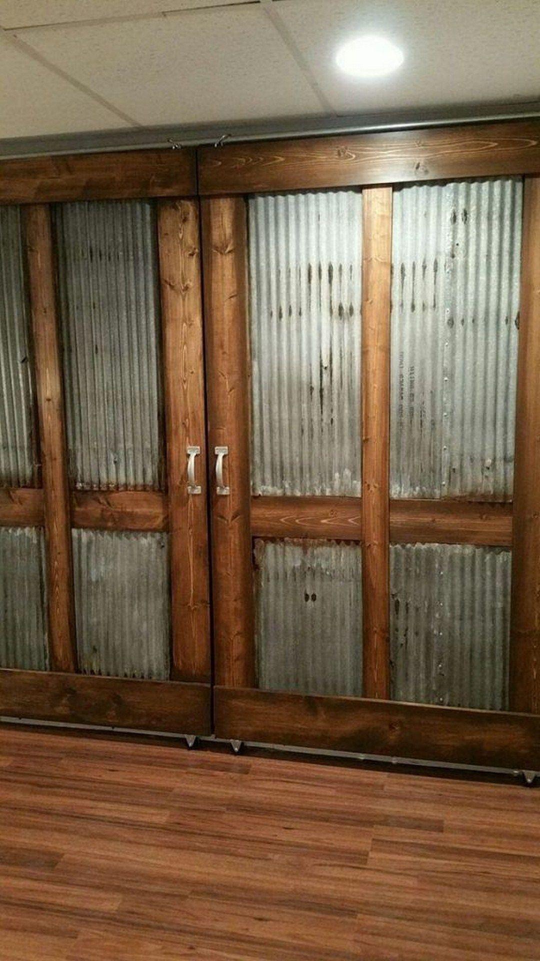 82 Corrugated Metal Barn Door Farmhouse Room Sliding Barn Door Bathroom Sliding Barn Door Hardware Barn Doors Sliding
