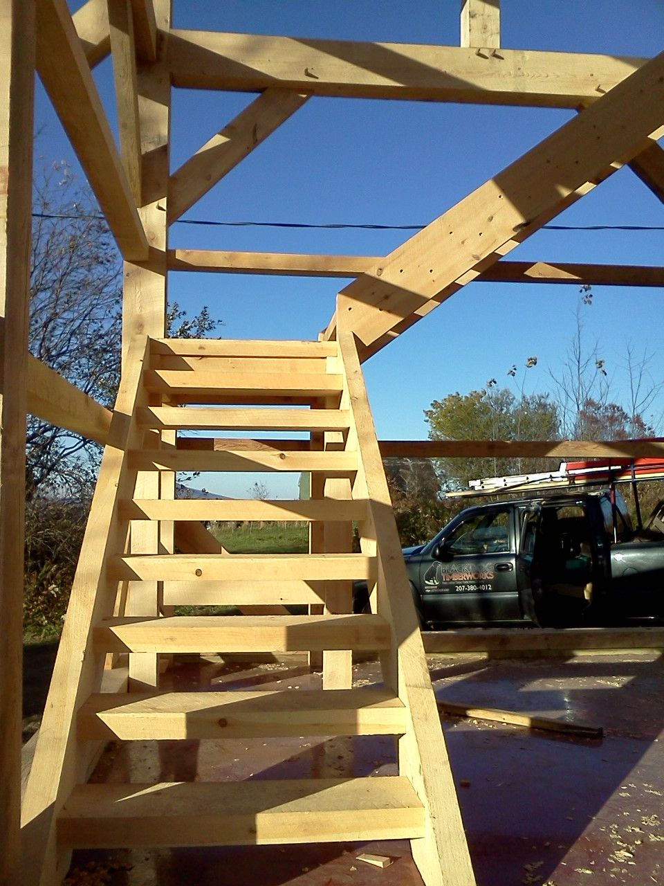 Best Custom Timber Stairs For Timber Frame Barn By Black Dog 400 x 300