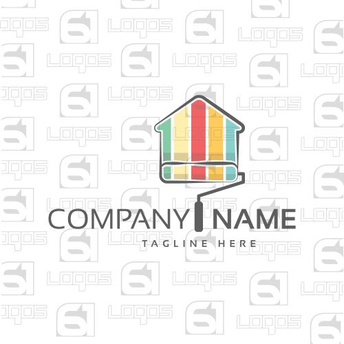 Home Decorator Logo Colorful House 2D Art
