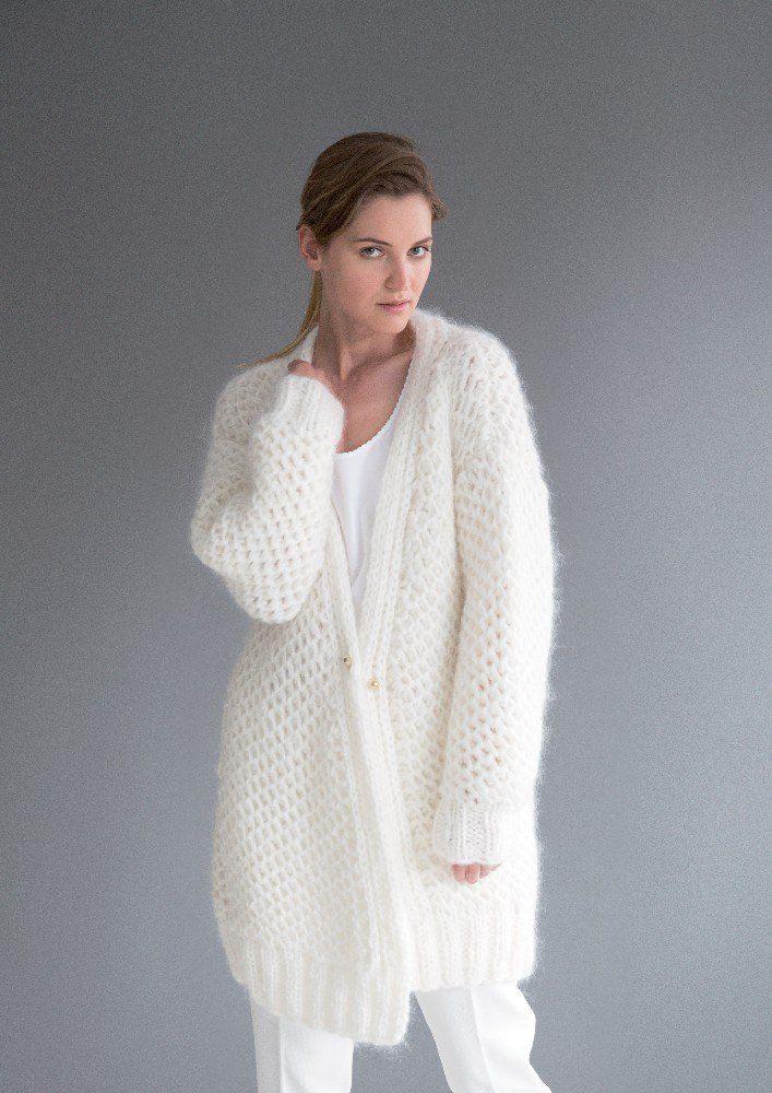 Brioche Cardigan In Rico Fashion Big Mohair And Essentials