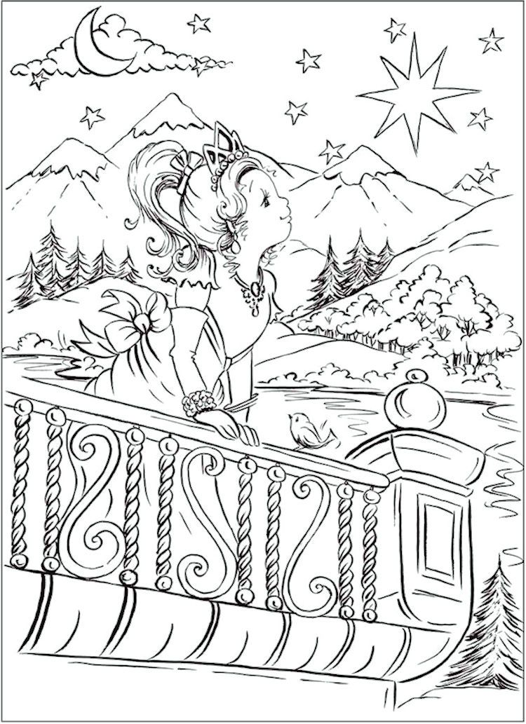 Dover pretty princess coloring page 6
