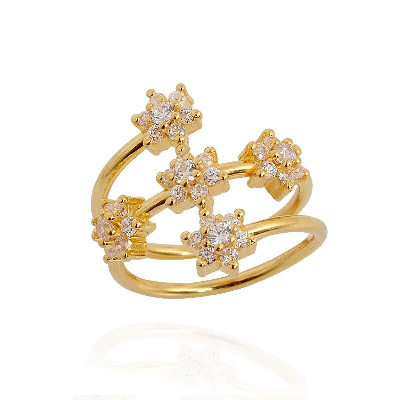 Cluster Flower Gold Spiral Ring | Ring | Pinterest | Ring, Gold ...