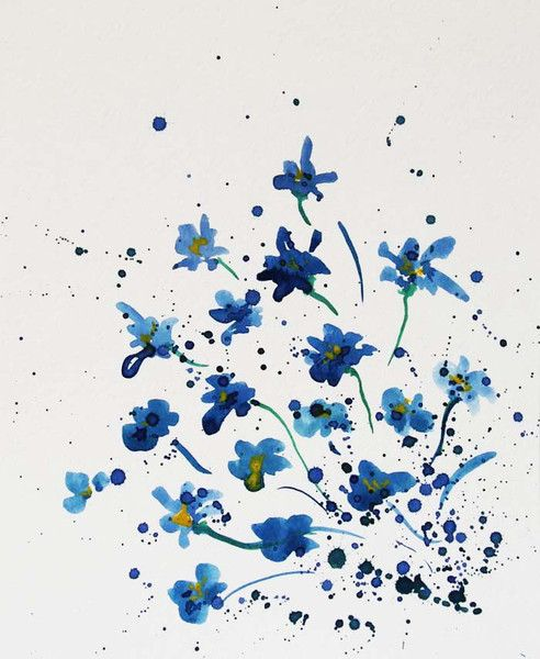Forget Me Not Flowers Watercolor Painting From Radikacolours By
