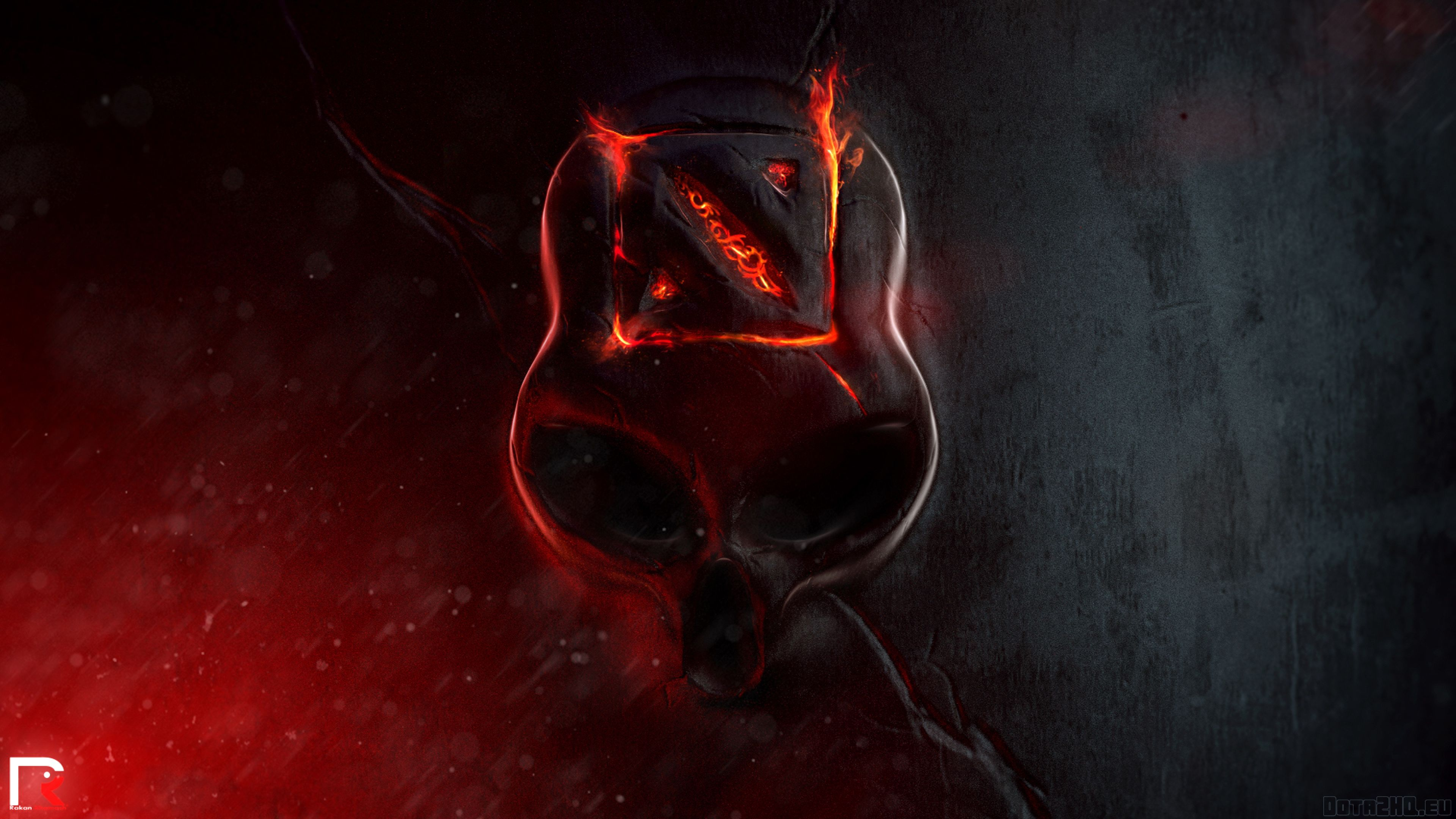 Download Wallpaper 3840x2160 Dota 2, Skull, Fire, Logo 4K ...