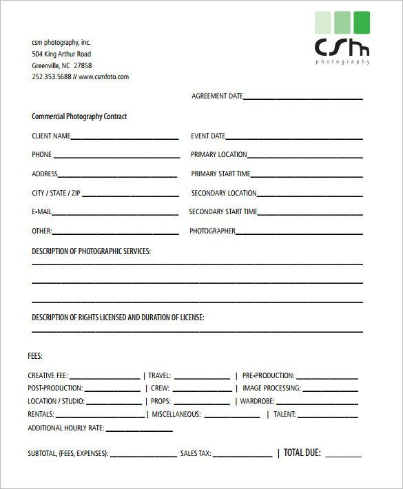 Commercial Photography Contract Template , 20+ Photography - free partnership agreement form