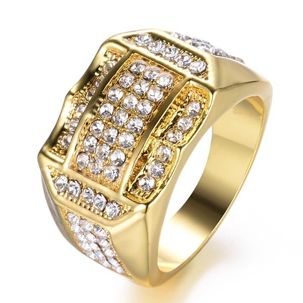 Crystal Men/'s Gold Plated Diamante Engagement Wedding Finger Ring Jewelry Band