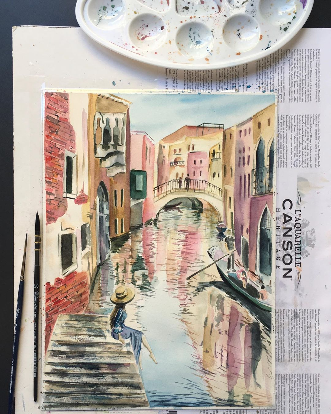 "Виолета Спасовска on Instagram: ""Venezia 💕 #aquarelle #aquarelles #aquarellepainting #painting #painter #paintings #watercolor #watercolorpainting #watercolors…"""