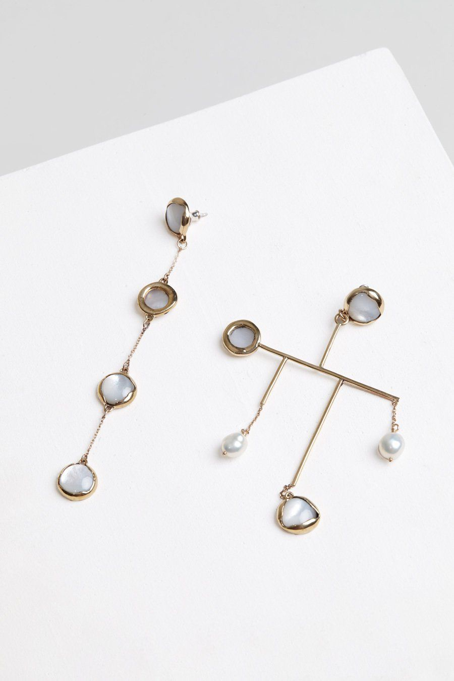 Faris Ovo Mobile Earrings In Bronze Mother Of Pearl Keshi Pearls