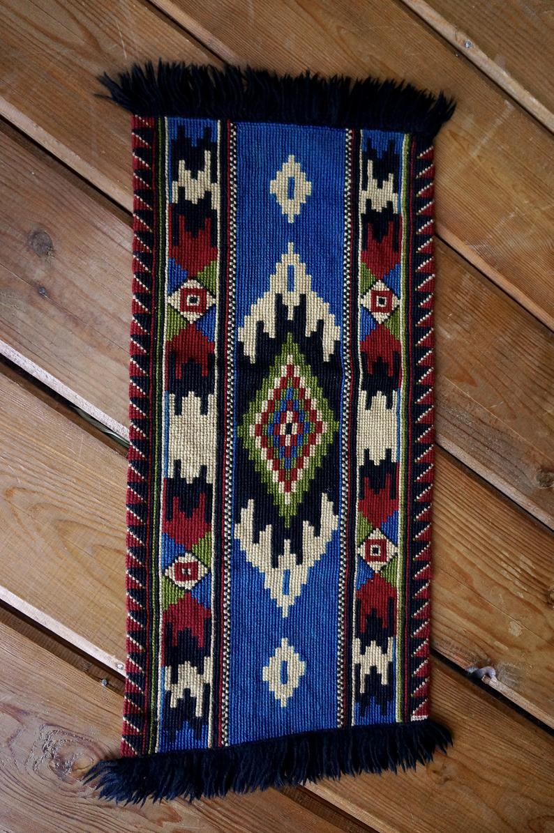 blue kilim rug vintage boho chic carpet textile wall hanging bohemian home decor en 2020 on boho chic kitchen rugs id=47435