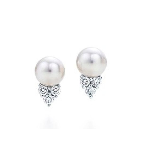 Love These Pearl Diamond Studs Tiffany Co