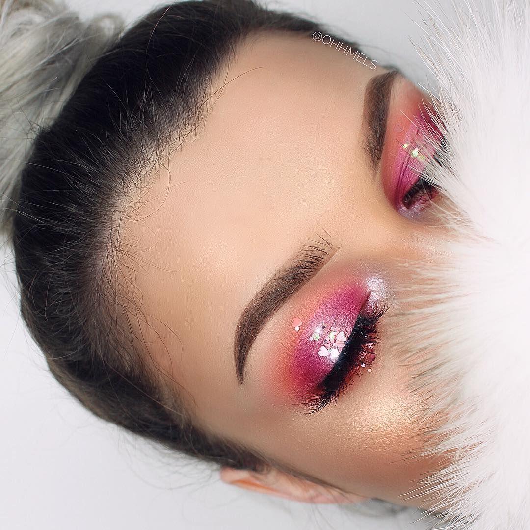 hot pink smokey eye w/ halo glitter cascade Pamela