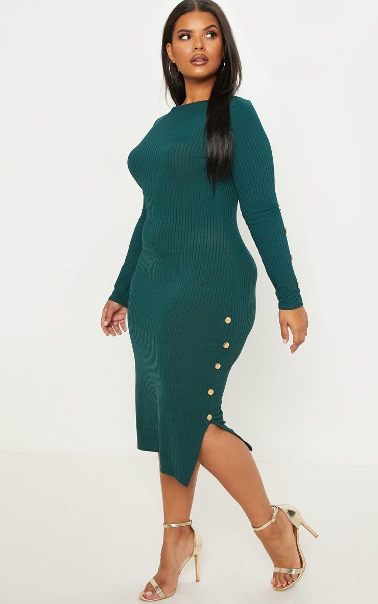 Plus Emerald Green Ribbed Tortoise Button Detail Midi Dress Midi Dress Dresses Plus Size Fashion [ 1180 x 740 Pixel ]