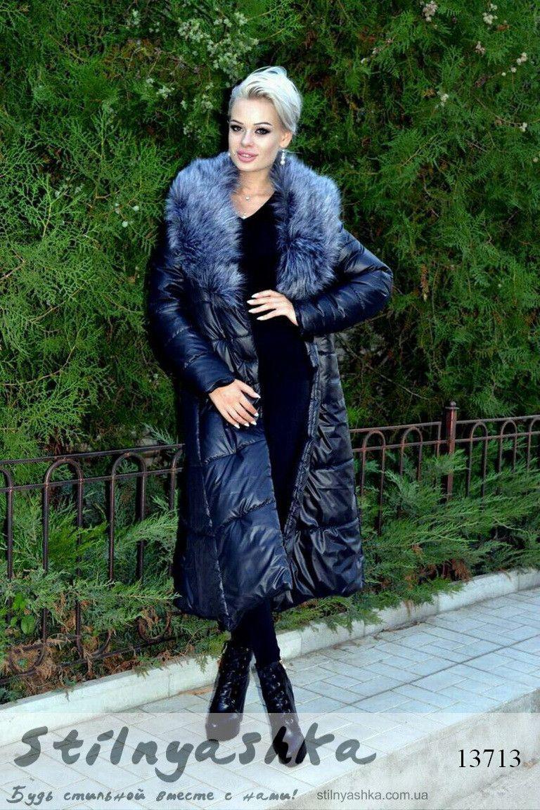 193637f98f1279 Длинное зимнее пальто на силиконе меховой воротник - 13713 Ткань: плащевка  на силиконе ( очень