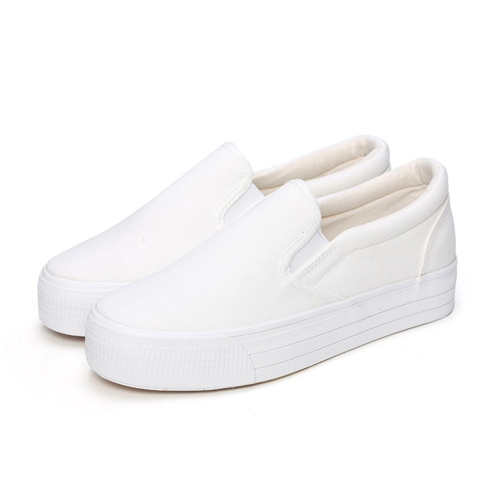 Classical White Canvas Shoes For Women Casual Platform Flat Loafers Fashion  Height Increasing 4 Colors Sapatos
