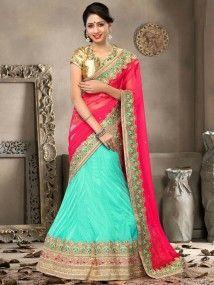 197fa5040f Sea Green with Pink Color Heavy Embroidery Wedding Wear Lehenga Choli  Dupatta