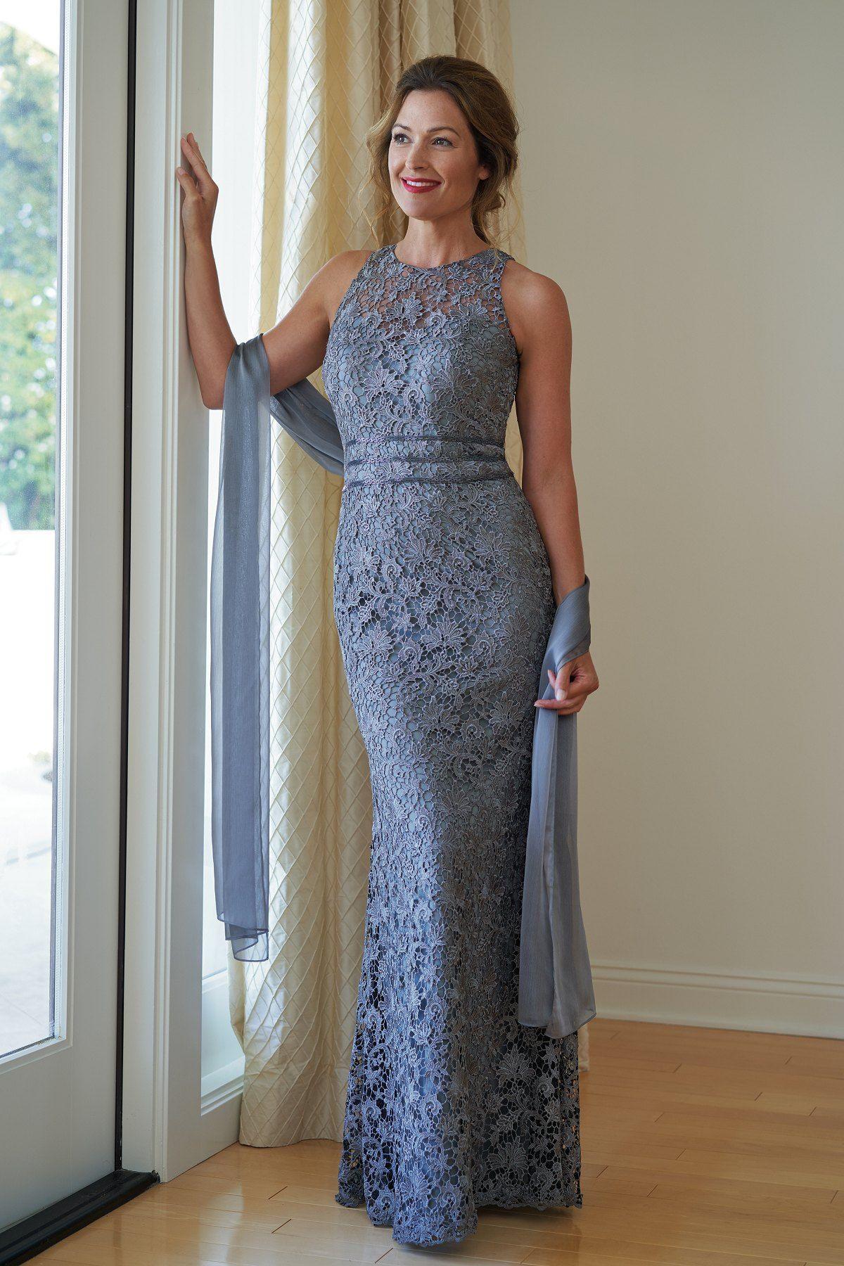 5d4f24aa387 K218014 Lace   Jade Tiffany Chiffon MOB Dress with Jewel Neckline ...